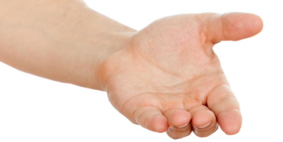 En åben hånd der rækker frem, som skal symbolisere afgivelsen af suverænitet.