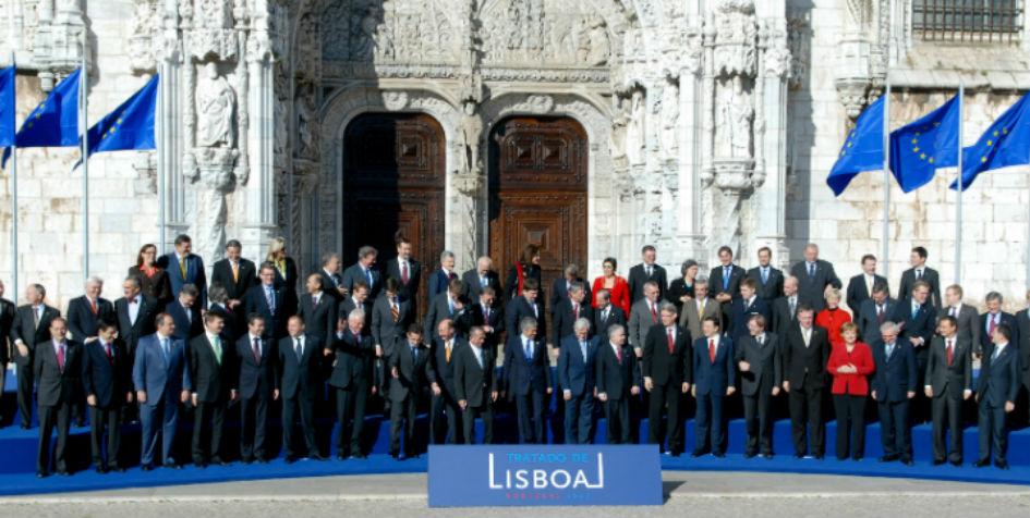 Underskriftsceremoni den 13. december 2007 i Lissabon. Kilde: Europa-Kommissionen.
