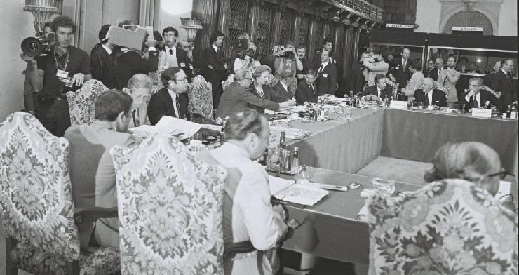 Under topmødet i Venedig, heriblandt den danske statsminister, Anker Jørgensen.