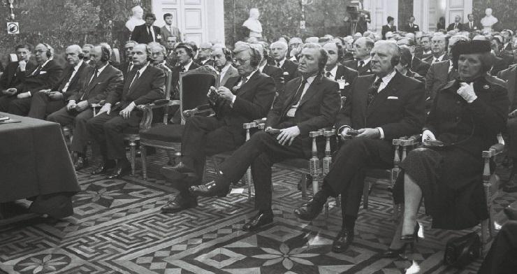Under topmødet i Bruxelles, heriblandt den danske statsminister, Anker Jørgensen.