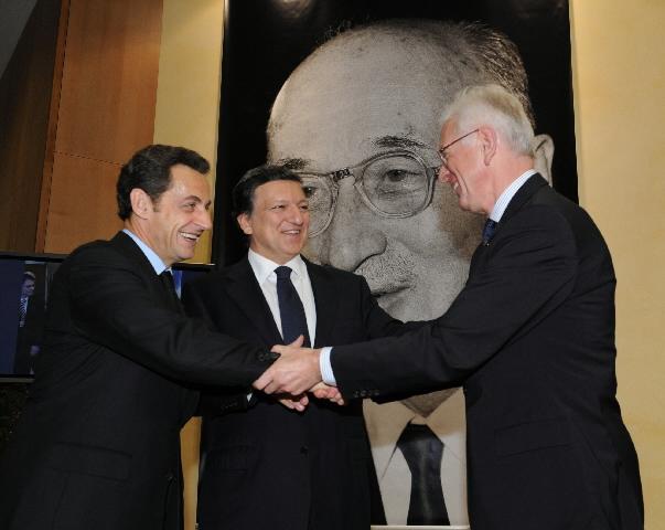 Formanden for Europa-Parlamentet, Hans-Gert Pöttering formanden for Europa-Kommissionen, José Manuel Barroso og den franske præsident, Nicolas Sarkozy.