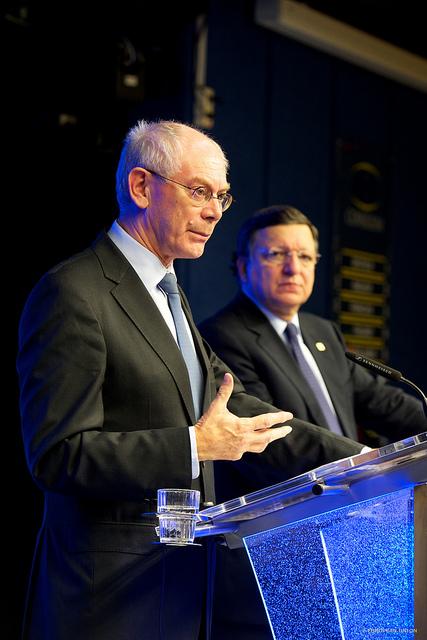 Herman Van Rompuy og José Manuel Barroso til EU-topmødet
