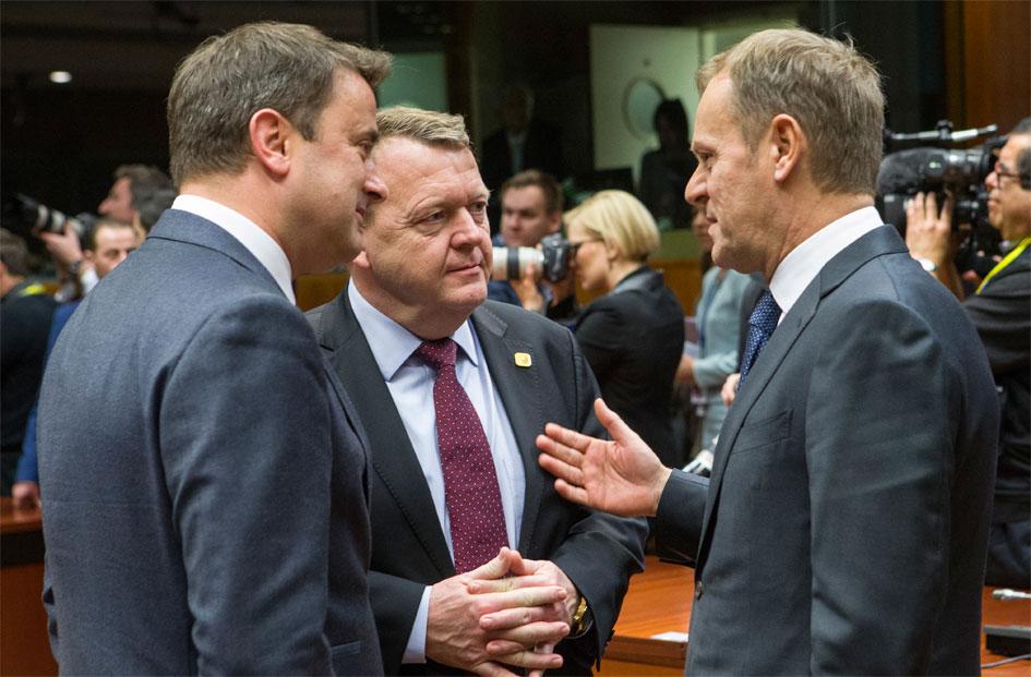 Statsminister Lars Løkke Rasmussen i samtale med EU's faste formand Donald Tusk. Foto: Rådet