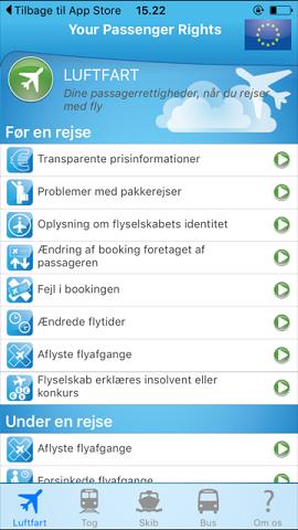 Europa-Kommissionens app om passagerrettigheder