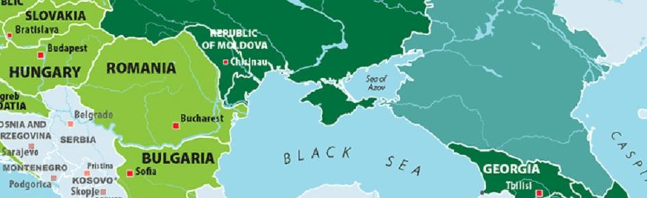 Billedet viser et landekort med nogle af de lande, som EU har en naboskabspolitik med, herunder Ukraine og Aserbajdsjan.