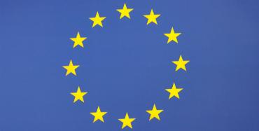 EU's flag på blå baggrund med 12 stjerner.