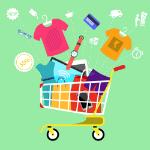 En indkøbskurv med varer.