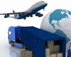 En lastbil med varer, jorden og en flyver.