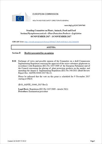 Dagsorden til komitémødet den 9. november 2017 om Glyphosat