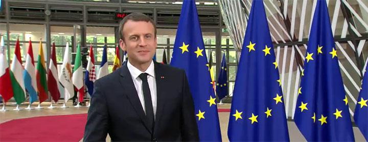 Den nye franske præsident, Emmanuel Macron, ankommer til sit første EU-topmøde. Foto: Rådet