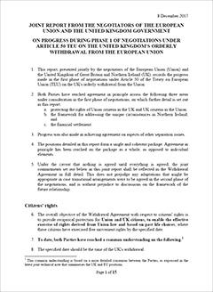 Brexit: principaftale om første del af forhandlingerne