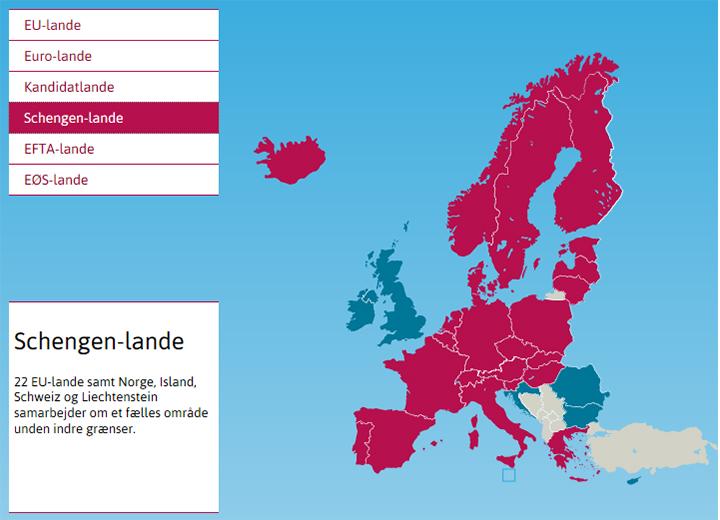 Hvilke lande deltager i Schengen-samarbejdet? / Folketingets EU-Oplysning