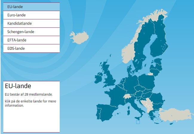 EU-Oplysningens Europakort - oplysninger om EU-medlemslande mm.