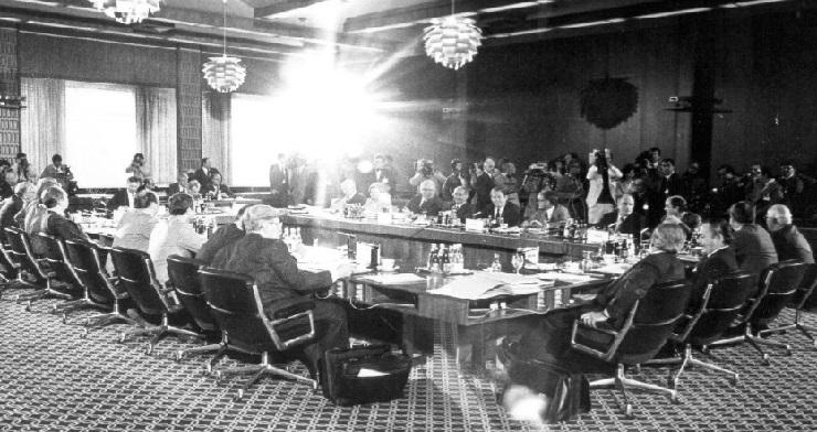 Under topmødet i Luxembourg, heriblandt den danske statsminister, Anker Jørgensen.
