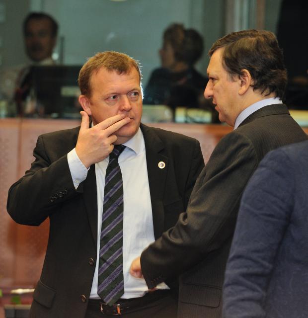 Statsminister, Lars Løkke Ramussen sammen med formanden for Europa-Kommissionen, José Manuel Barroso.