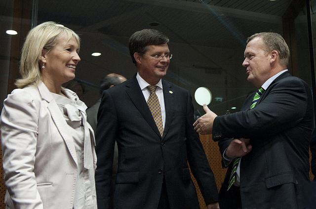 Lene Espersen, dansk udenrigsminister, Jan Peter Balkenende, Hollands premierminister, og den danske statsminister, Lars Løkke Rasmussen, til EU-topmødet.