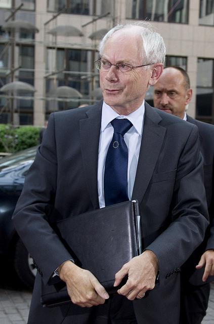 Herman Van Rompuy ankommer til EU-topmødet.