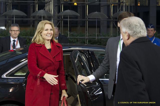 Statsminister Helle Thorning-Schmidt ankommer til EU-topmødet.