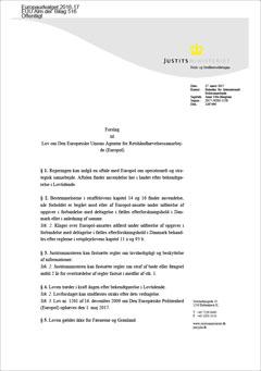 Lovforslag L 169 om Folketingets godkendelse af europolaftalen