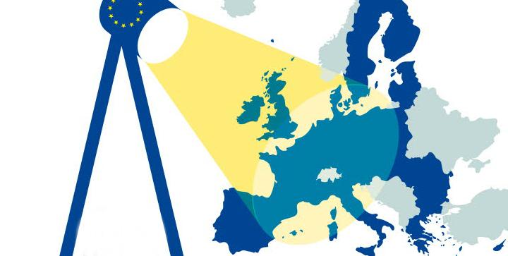 Bankunionen illustreret ved en lyskilde på stativ, som lyser eller fører tilsyn med de deltagende EU-lande.