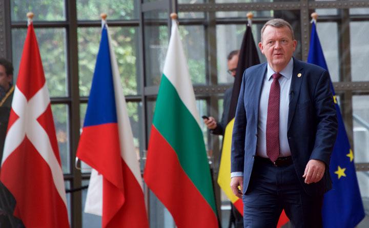 Statsminister Lars Løkke Rasmussen ankommer til EU-topmødet. Foto: Rådet