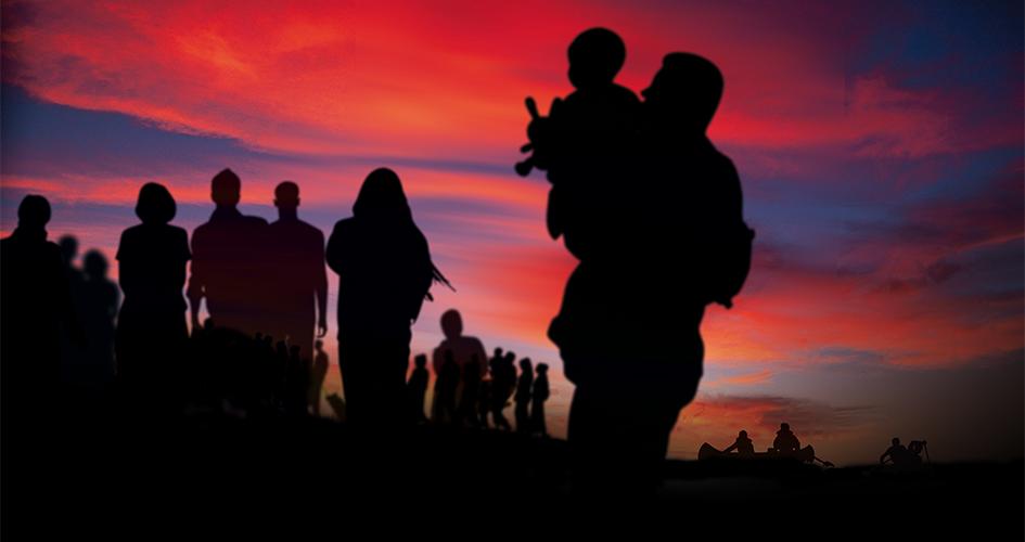 Flygtninge i solnedgang